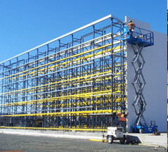 Rack supported structure being built